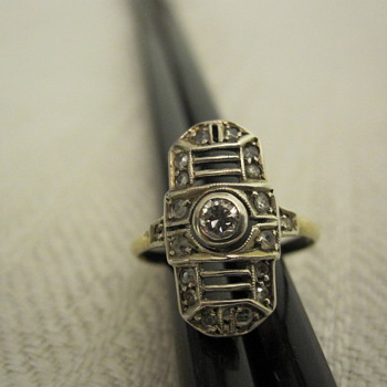 Art deco 15 carat gold, platinum and diamond ring - Fine Jewelry