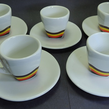 Five Espresso Cups and Saucers ACF Made in Italy - China and Dinnerware