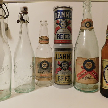 Early Pre-50s Hamms Beer Bottles and Cans - Bottles
