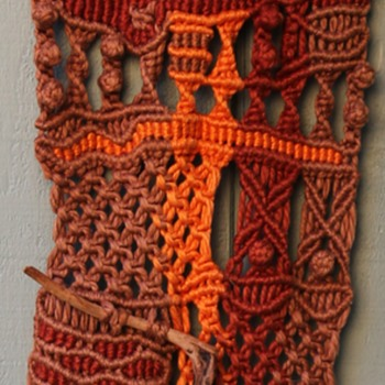 Two Vintage Macrame Wall Hangings with Sticks! - Fine Art