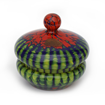 Green/Red WELZ Stripes and Spots Candy dish + Matching Purple dish - Art Glass