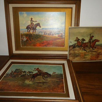 CM Russell Prints & one lithograph - Fine Art