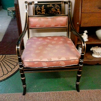 "Regency Style ""Chinoiserie"" Arm Chair/Black Lacquer With Gilt Scene And Accents/Unknown Maker and Age - Furniture"