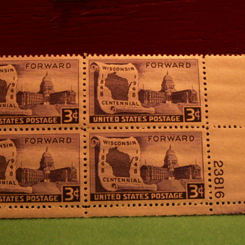 1948 Wisconsin Centennial Forward 3¢ Stamps
