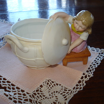 Biscuit Figurine Germany Child with a terra cotta confiture pot - Pottery