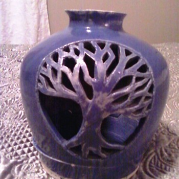 Blue Pottery Candle Holder - Pottery