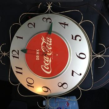 Early '50's Coca-Cola Electric Wall Clock - Silver - Coca-Cola