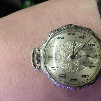 Antique ornate Hamilton white gold pocket watche - Pocket Watches
