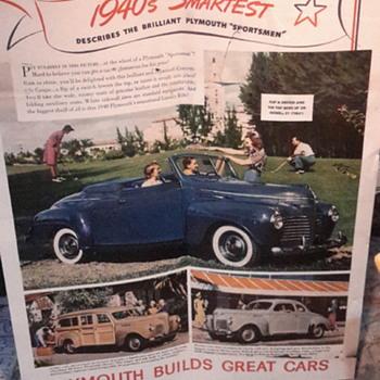 1940 Plymouth dealer ad 35 x 45 found under linoleum in older home remodel - Advertising