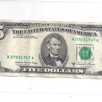 Miss Printed $5 dollar bill - US Paper Money