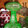 Apple Green Princess Feather Oil Lamp