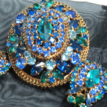 Brooch and Earrings ..Blue Green - Costume Jewelry