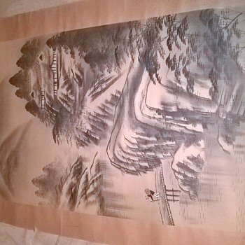 Ink paintings on silk - Asian