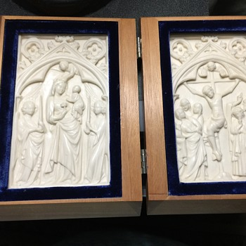 Wooden book with white religious carving inside. What is this? - Medals Pins and Badges
