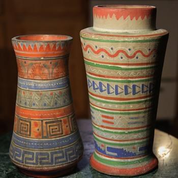 Aztec Pattern of Tonala Pottery - two vases - Pottery