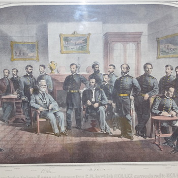 Print depicting the officers in The McLean House, Appomattox. - Posters and Prints
