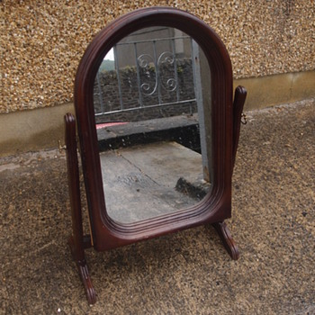 Vintage Retro Mid century Bedroom cabinet swivel mirror in wood and glass, with lockable swivel hinges.