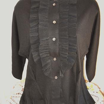 50's - 60's  Sears Kerrybrooke Black Pin-Up Girl Ruffle Sweater