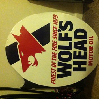 Wolf's Head Motor Oil Metal Sign - Signs