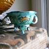 enamel bowl with carved jade handles