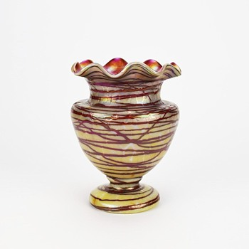 KRALIK TOOLED AND THREADED VASE - Art Glass