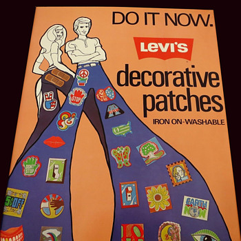 Early 1970s LEVIS in-store advertising poster for Decorative Patches. - Mens Clothing
