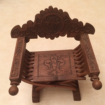 Old Carved Wooden Miniature Chair - Furniture