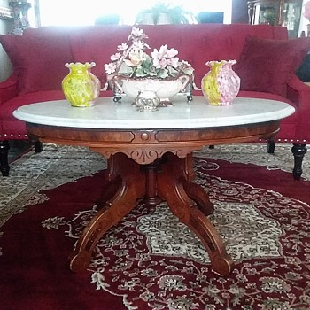 Victorian Eastlake Marble Top Table / Unknown Maker & Age - Furniture