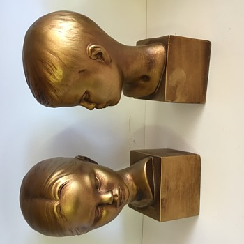 Cybis like child portrait busts gold