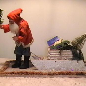 1920's-1930's Santa Pulling a Sled - Christmas