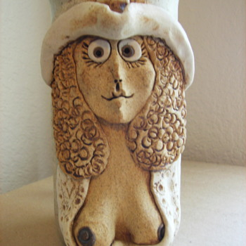"""Funny Face Cowgirl with Big Boobs Ceramic/Stoneware Mug/Stein Marked """"WD"""" - Pottery"""
