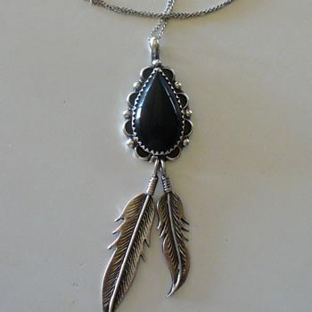 Sterling Silver & Black Onyx Pendant, Navajo