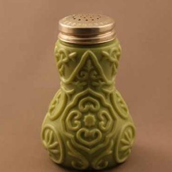 "Victorian Moss Green Milk Glass ""Doodad"" Shaker."