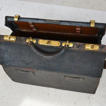 Antique 1800's Black Doctors Bag - Bags