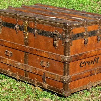 "1900-1910 Vulcanized covered Flat Top 36"" Trunk with Brass Bar Details - Furniture"