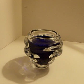 Cobalt blue glass vase - Art Glass