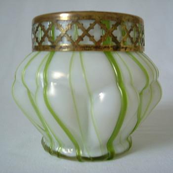 Art Nouveau Kralik Mother of Pearl Rose Bowl - Art Glass