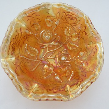 Imperial Carnival Glass Dish in Open Rose Pattern - Glassware