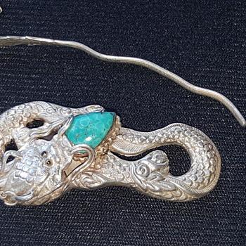 Sterling Dragon Turquoise Hair Holder - Asian