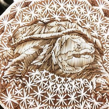 Odawa quill basket - Native American