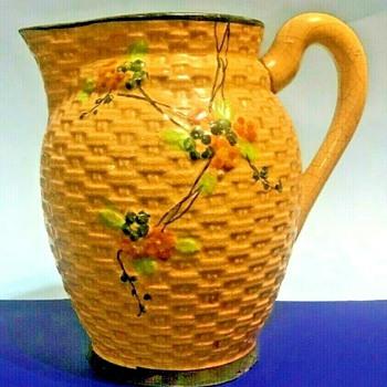 Made In Japan- Hotta Yu Shoten & Co Majolica Honey Comb Basket Weave Pitcher - Asian