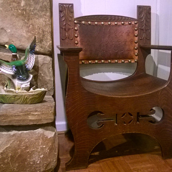 Oak Chair with Leather and Curved Seat - Arts and Crafts