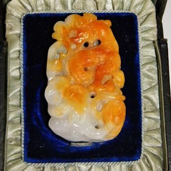 Vintage Carved Chinese Burma Jade Pendant Dragon 47.8 grams - Asian
