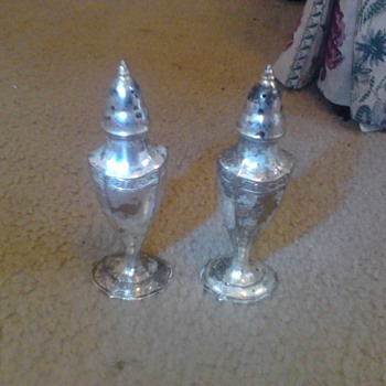 Antique Salt and Pepper Shakers - Silver