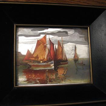 Vintage framed foil art, oriental seascape