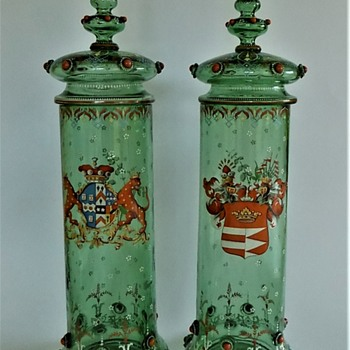 Monumental Harrach Goblets with lid for world fair vienna 1873 - Art Glass