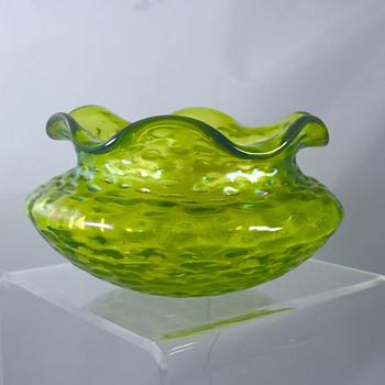 "Bohemian Kralik Unknown Diaspora Ruffled Miniature Iridescent Bowl 2.75"" ca 1902 - Art Glass"