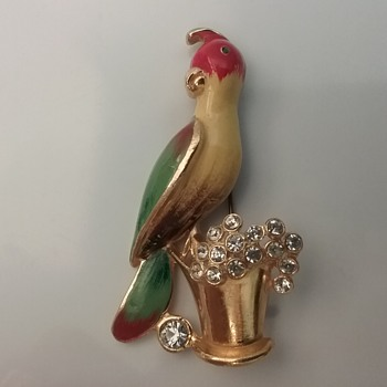 Coro parrot with rhinestone bucket brooch  - Animals