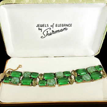 Sherman Green Bracelet with Cabochons - Costume Jewelry