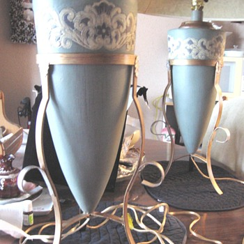Lamps blue / white embossed sets in metal cradle holders - Art Deco